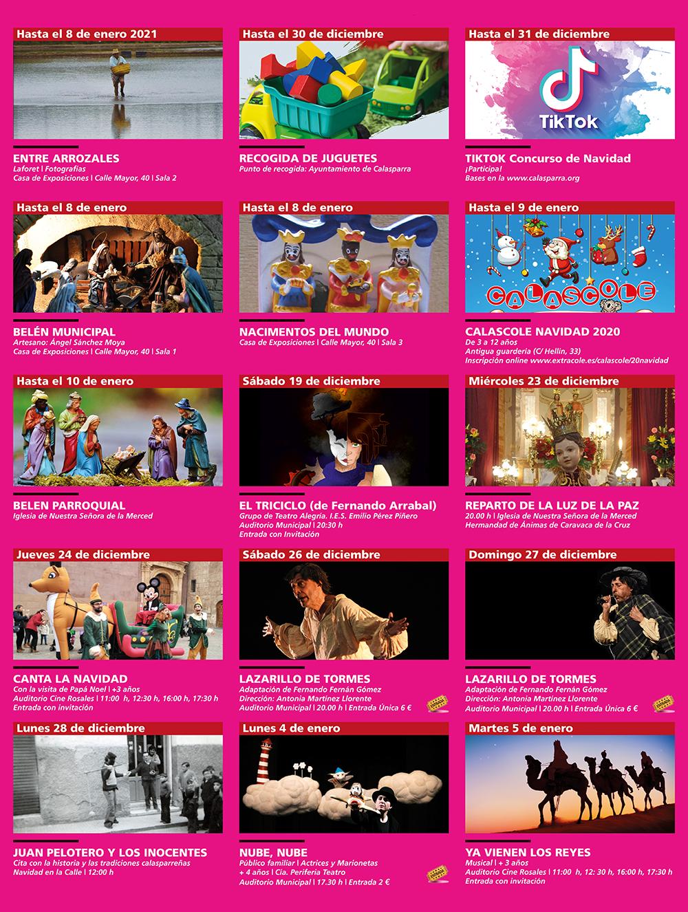 Actualidad cultural Navideña de Calasparra · Eventos organizados por la Concejalía de Cultura del Ayuntamiento de Calasparra